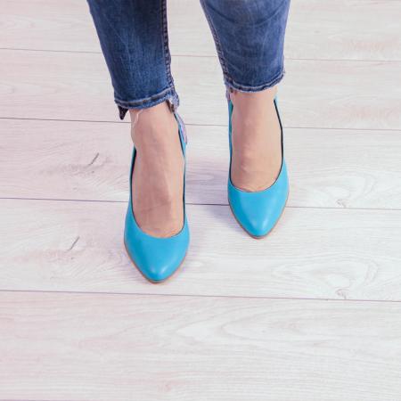 Pantofi dama din piele naturala turcoaz MSPD53018-20 [2]