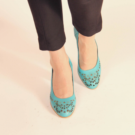Pantofi dama din piele naturala turcoaz laserata MSPD51820L39-20 [1]