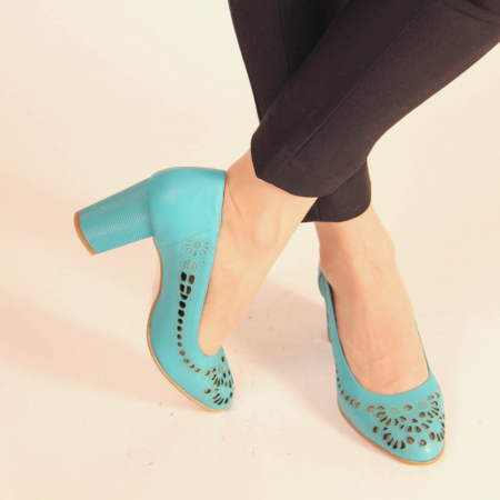 Pantofi dama din piele naturala turcoaz laserata MSPD51820L39-20 [0]