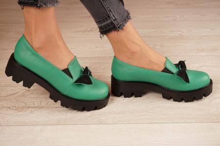 Pantofi dama din piele naturala verde MSPD57319-21 [2]