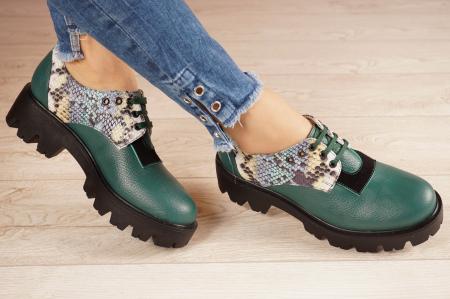Pantofi dama din piele naturala verde MSPD60020-21 [1]