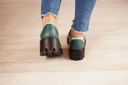 Pantofi dama din piele naturala verde MSPD60020-21 [4]