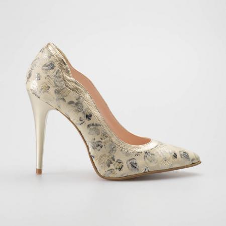 Pantofi dama din piele naturala cu imprimeu MSPD54619-19 [0]