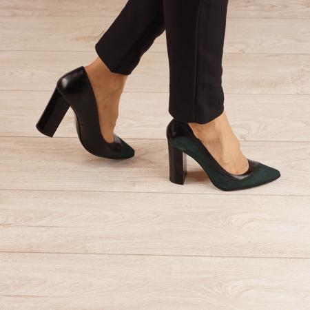 Pantofi dama din piele naturala verde MSPD51519-1-20 [0]