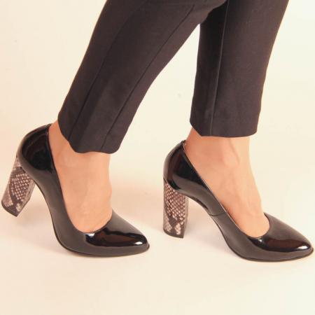 Pantofi dama din piele naturala lacuita neagra MSPD190-10-20 [2]