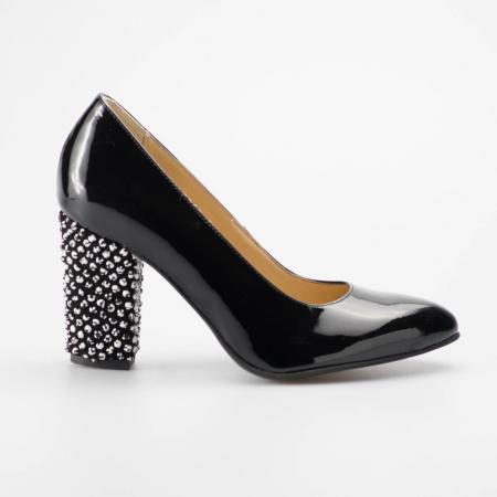 Pantofi dama din piele naturala lacuita neagra MSPD799-1-19 [0]