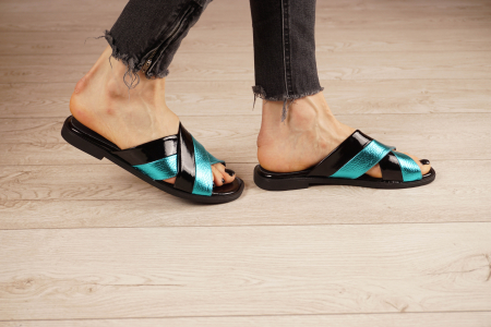 Papuci din piele naturala neagra MSSD0721-21 [3]