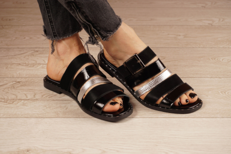 Papuci din piele naturala neagra MSSD1121-21 [1]