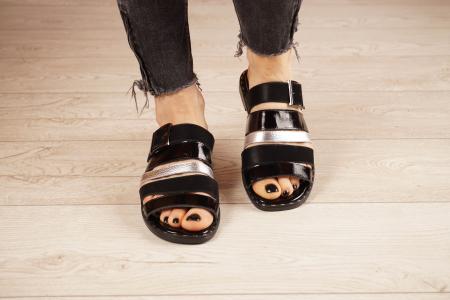 Papuci din piele naturala neagra MSSD1121-21 [3]