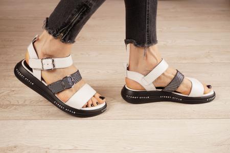 Sandale din piele naturala alb cu negru MSSD7420-21 [2]