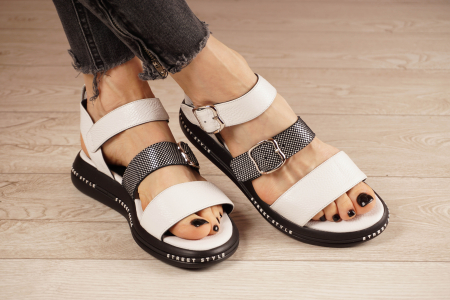 Sandale din piele naturala alb cu negru MSSD7420-21 [1]