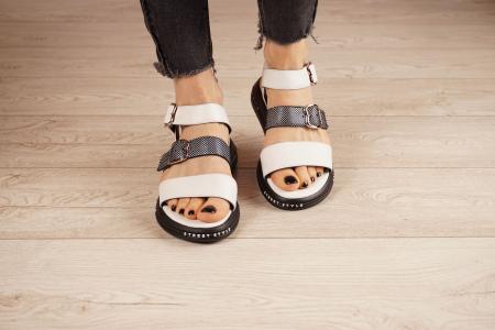 Sandale din piele naturala alb cu negru MSSD7420-21 [3]
