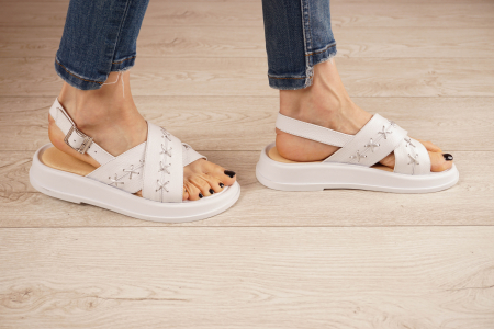 Sandale din piele naturala alba MSSD0321-21 [2]