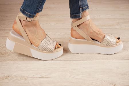 Sandale din piele naturala croco nude MSSD2220-1-21 [2]