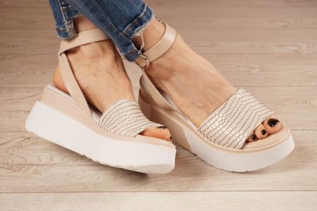 Sandale din piele naturala croco nude MSSD2220-1-21 [0]