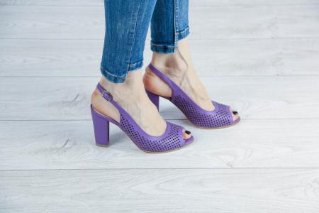 Sandale din piele naturala mov laserata MSSD4218L3-3-20 [0]