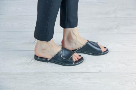 Papuci din piele naturala neagra cu margele MSSD2120-20 [1]