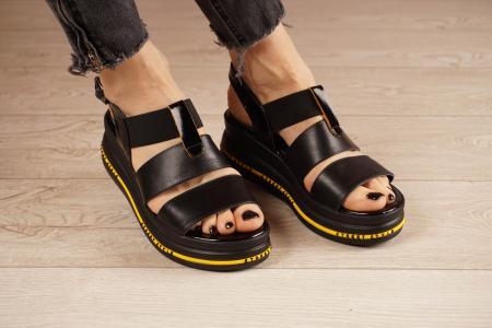 Sandale din piele naturala neagra MSSD2321-21 [0]