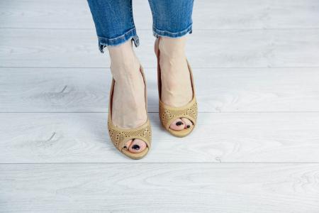 Sandale din piele naturala nude laserata MSSD3411L8-2-20 [2]