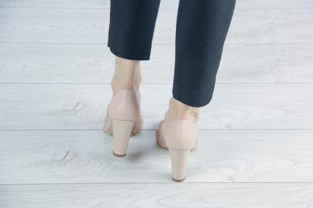 Pantofi decupati din piele naturala nude laserata MSSD4212L43-20 [3]