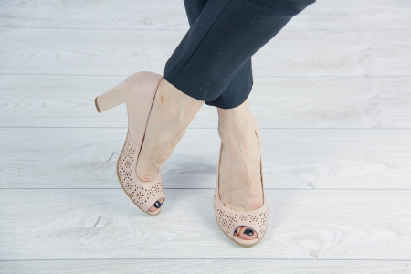 Pantofi decupati din piele naturala nude laserata MSSD4212L43-20 [1]