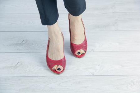 Sandale din piele naturala rosie laserata MSSD3411L8-4-20 [2]