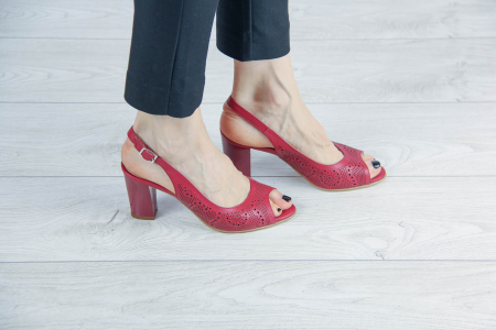 Sandale din piele naturala rosie laserata MSSD3411L8-4-20 [0]