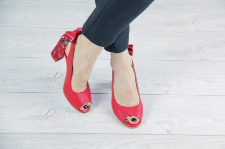 Pantofi decupati din piele naturala rosie MSSD3219-20 [1]