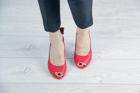 Pantofi decupati din piele naturala rosie MSSD3219-20 [2]