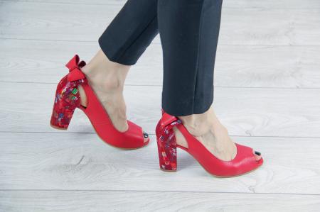 Pantofi decupati din piele naturala rosie MSSD3219-20 [0]