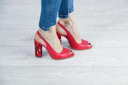 Sandale din piele naturala rosie MSSD52617-1-20 [0]