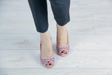 Sandale din piele naturala roz pudra laserata MSSD0619L44-20 [2]