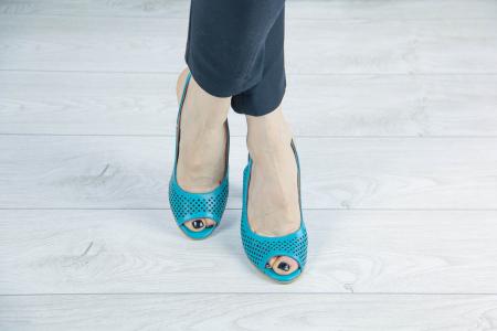 Sandale din piele naturala verde turcoaz laserata MSSD4218L3-4-20 [1]