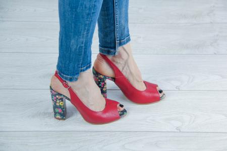 Sandale din piele rosie MSSD0619-2-20 [0]
