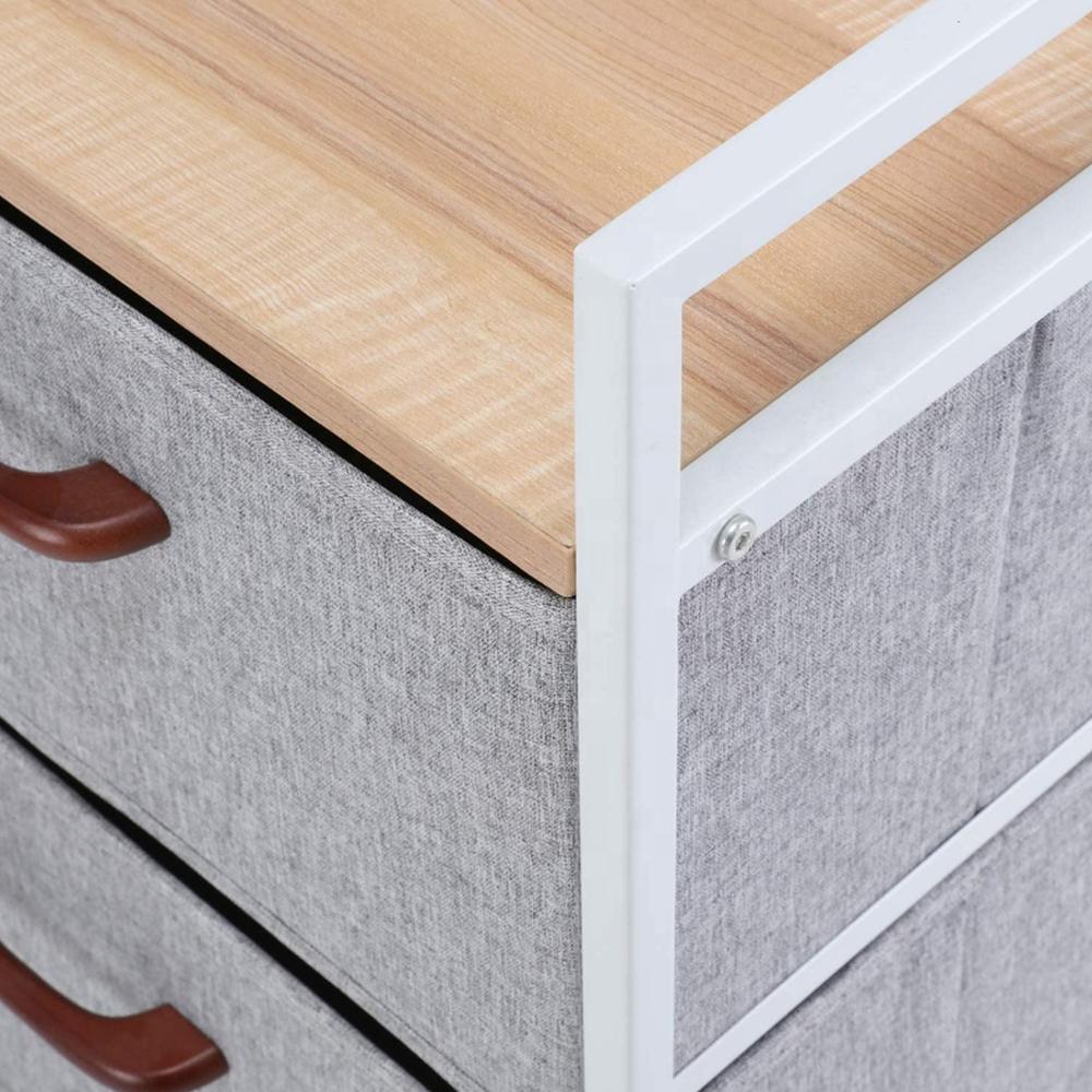 Comodă cu sertare din material textil, arţar roşu/alb/gri deschis, TESSA TYP 2 5
