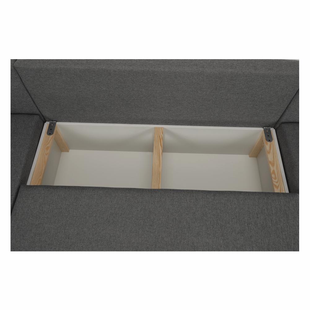 Coltar ,canapea universala reversibila,extensibil, stofa,96 gri inchis / 90 gri, 314x75/85x153/211 cm, ANISIA M 24