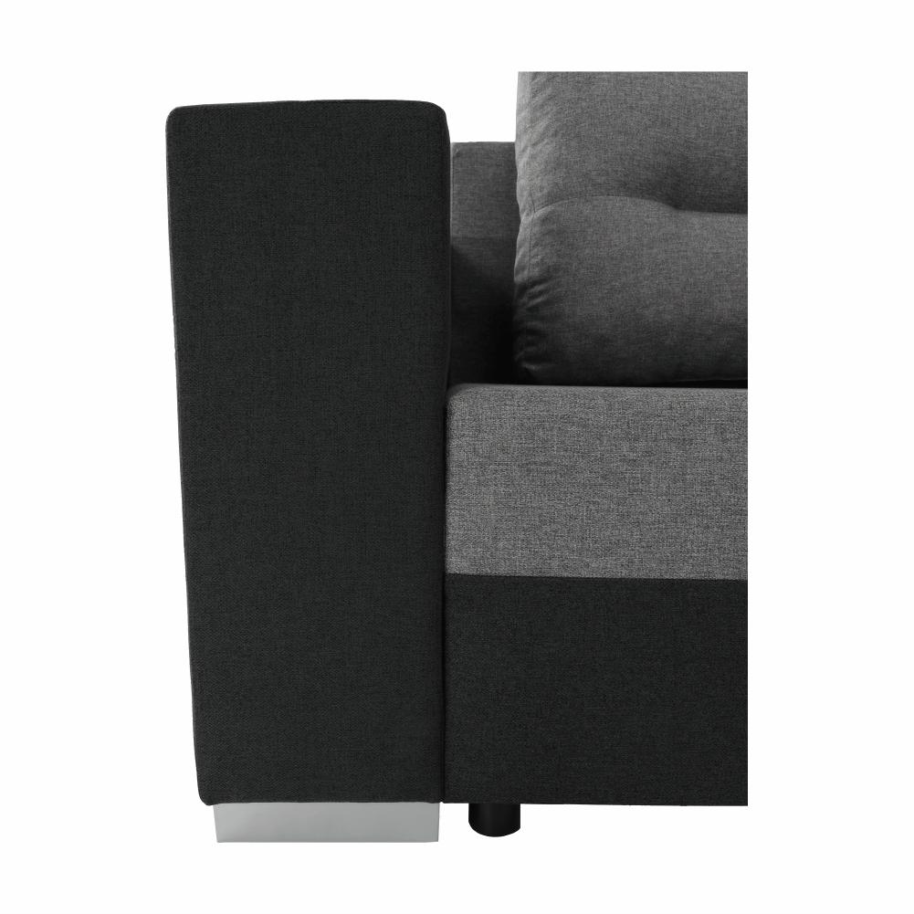 Coltar ,canapea universala reversibila,extensibil, stofa,96 gri inchis / 90 gri, 314x75/85x153/211 cm, ANISIA M 19