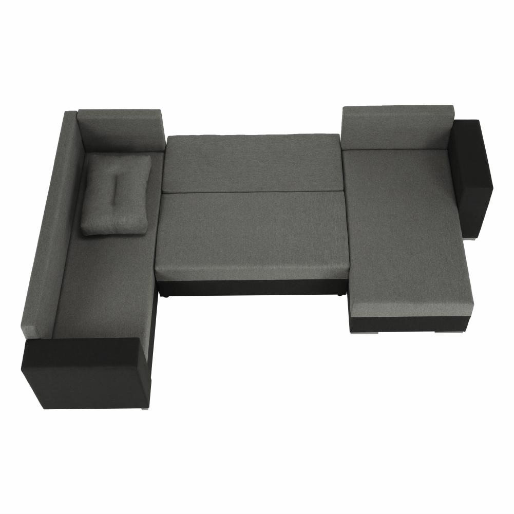 Coltar ,canapea universala reversibila,extensibil, stofa,96 gri inchis / 90 gri, 314x75/85x153/211 cm, ANISIA M 15