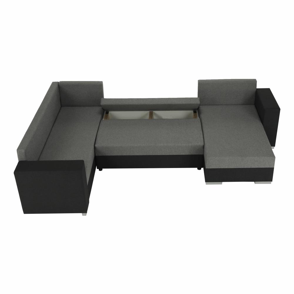 Coltar ,canapea universala reversibila,extensibil, stofa,96 gri inchis / 90 gri, 314x75/85x153/211 cm, ANISIA M 14