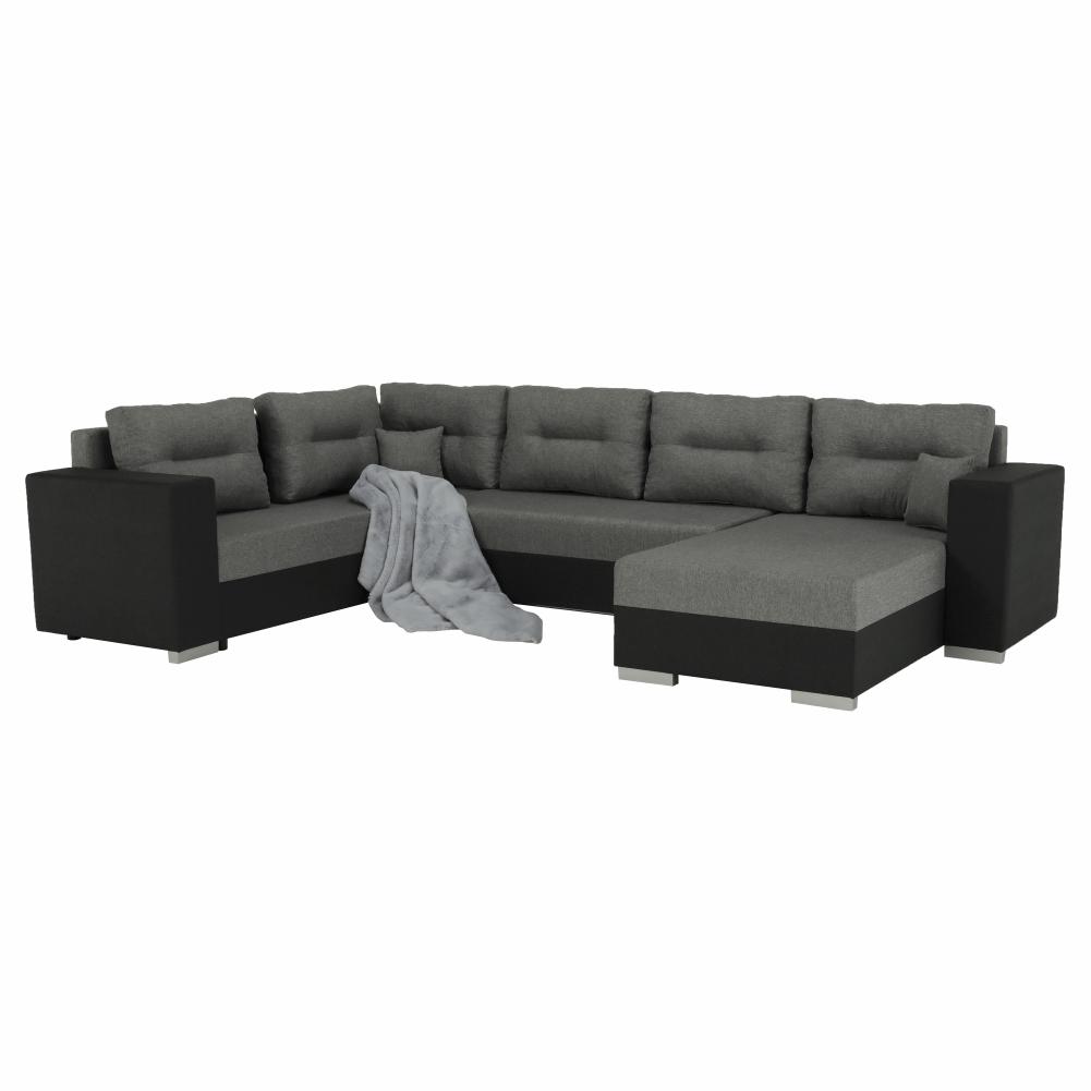 Coltar ,canapea universala reversibila,extensibil, stofa,96 gri inchis / 90 gri, 314x75/85x153/211 cm, ANISIA M 12