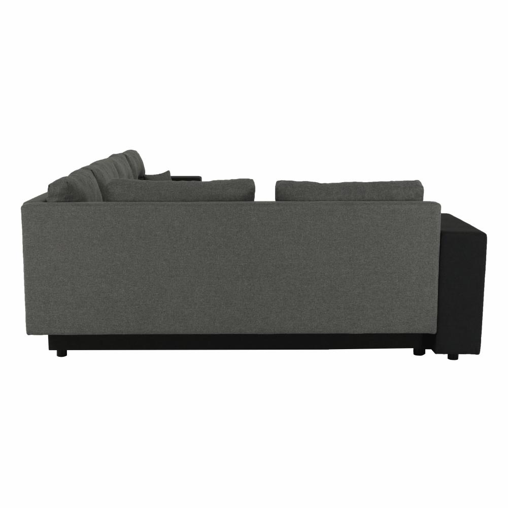 Coltar ,canapea universala reversibila,extensibil, stofa,96 gri inchis / 90 gri, 314x75/85x153/211 cm, ANISIA M 4