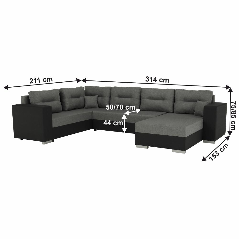 Coltar ,canapea universala reversibila,extensibil, stofa,96 gri inchis / 90 gri, 314x75/85x153/211 cm, ANISIA M 1