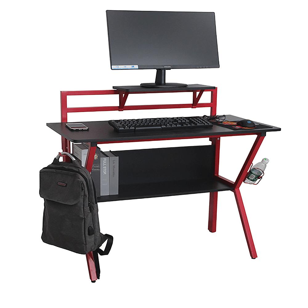 Masă PC/masă de joc, roşu/negru, TABER 0