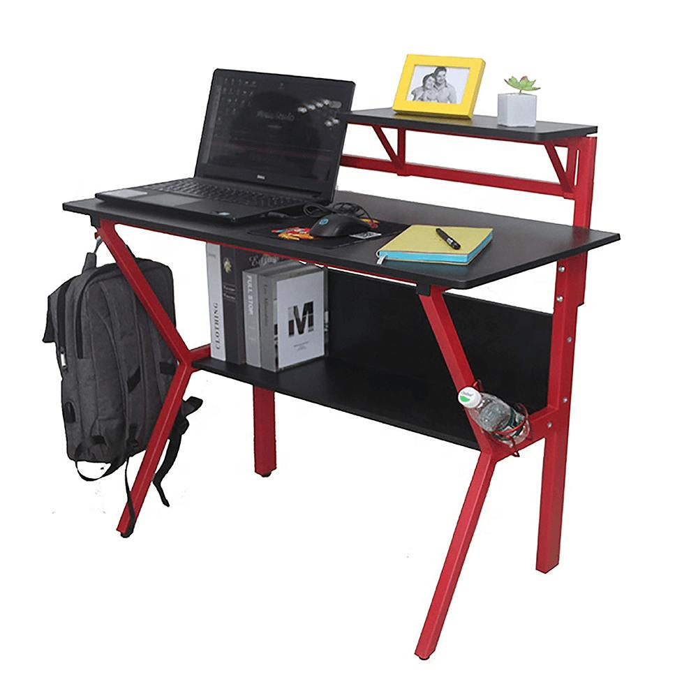 Masă PC/masă de joc, roşu/negru, TABER 3