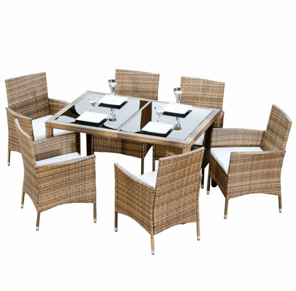 Set de grădină, masă+6x scaune, ratan, miere/crem 0