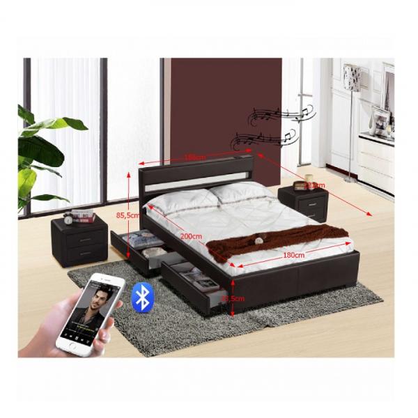 Pat modern cu boxe, Bluetooth şi iluminare LED RGB, negru, 180x200, FABALA 2