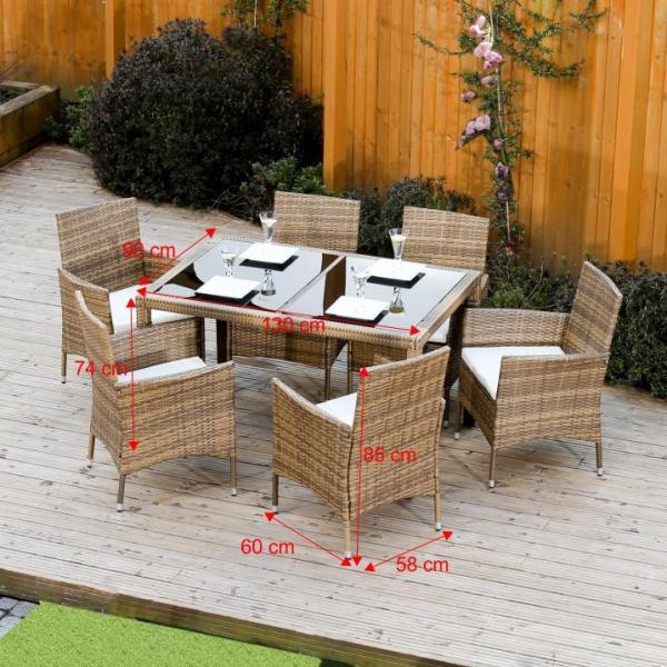 Set de grădină, masă+6x scaune, ratan, miere/crem 2