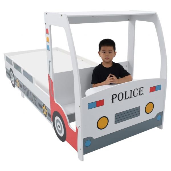 Pat masina de politie pentru copii cu birou 90x200 cm,POLICE 2