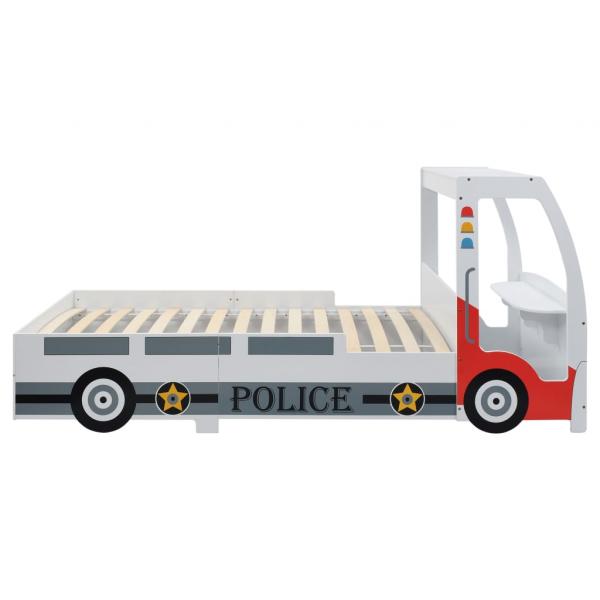 Pat masina de politie pentru copii cu birou 90x200 cm,POLICE 3