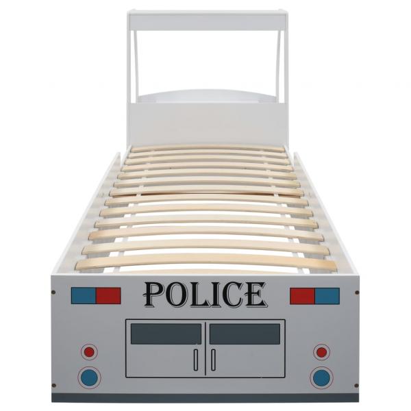 Pat masina de politie pentru copii cu birou 90x200 cm,POLICE 4